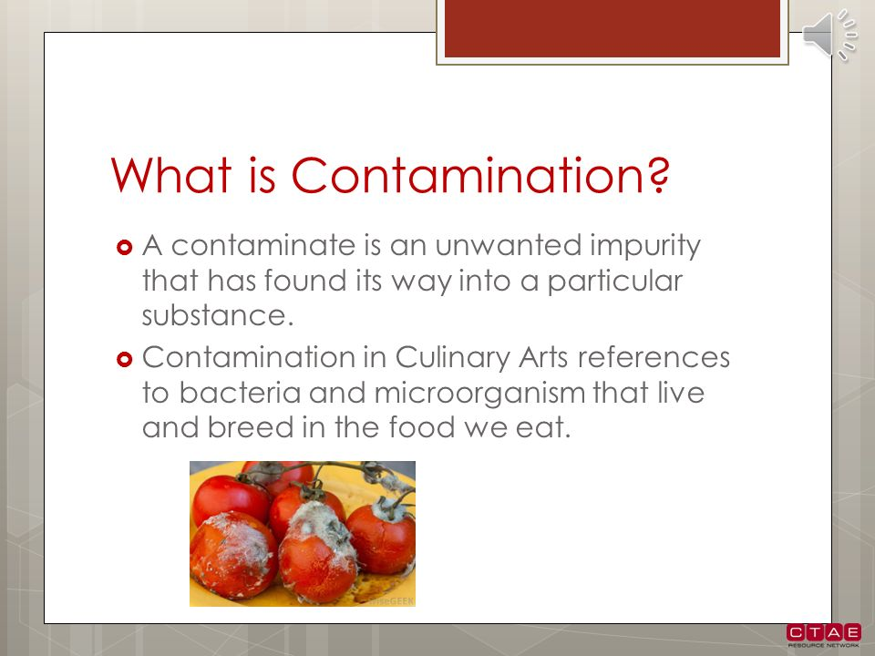 What is Contamination A contaminate is an unwanted impurity that has found its way into a particular substance.