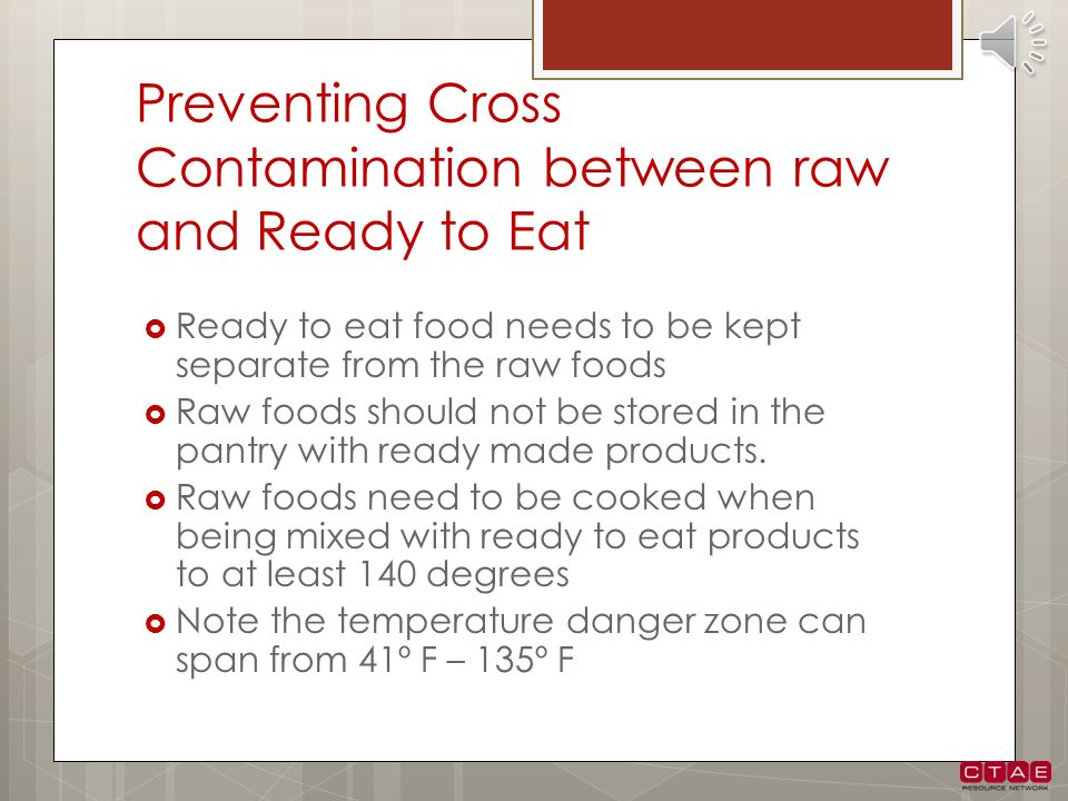 Preventing Cross Contamination between raw and Ready to Eat