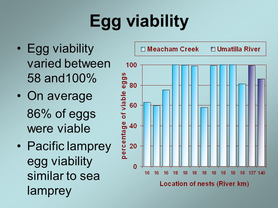 Egg viability Egg viability varied between 58 and100% On average