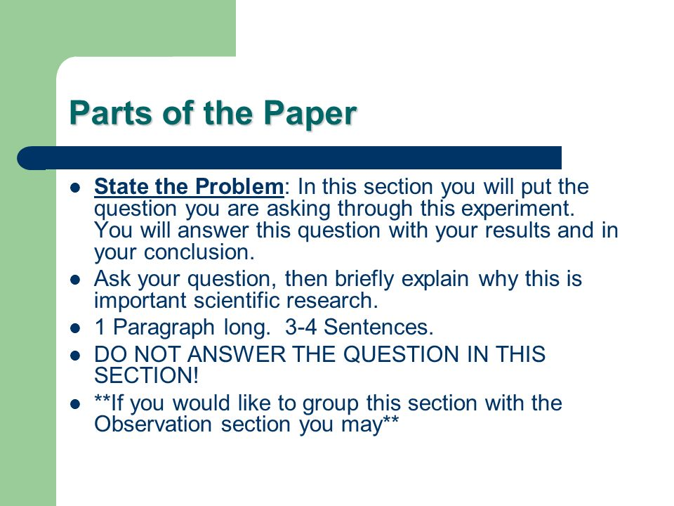 essential section from investigate paper