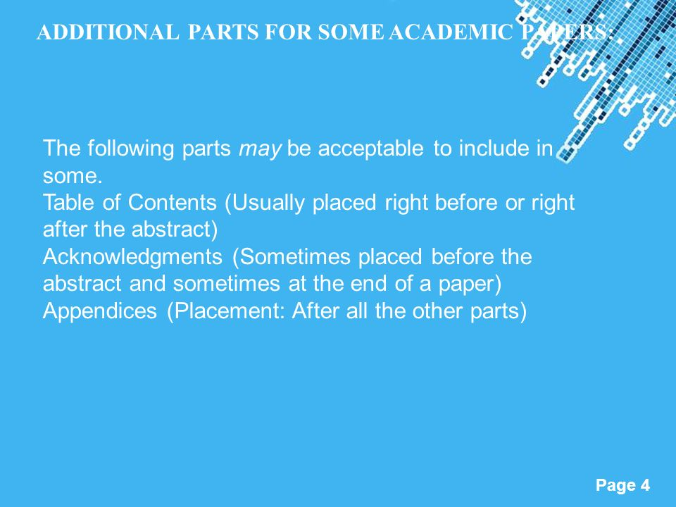 parts of the abstract in research papers Lecture: parts of a research paper  writing a research paper abstract (see apa manual 204 this is on its own page).