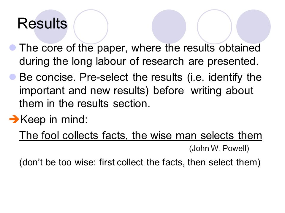 writing the results section of a research paper Preparing a research report a research experience provides the following information on report writing and format is results in this section.