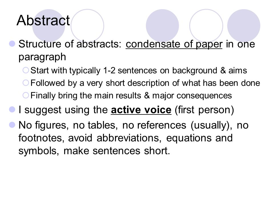 contents of an abstract of a research paper Analyze the components of a research paper abstract the abstract is used by readers to quickly review the overall content of the paper.