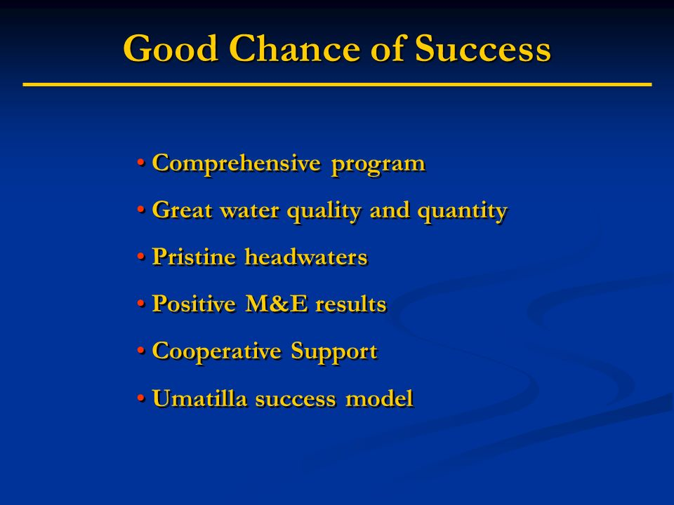 Good Chance of Success Comprehensive program