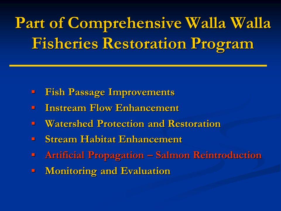 Part of Comprehensive Walla Walla Fisheries Restoration Program