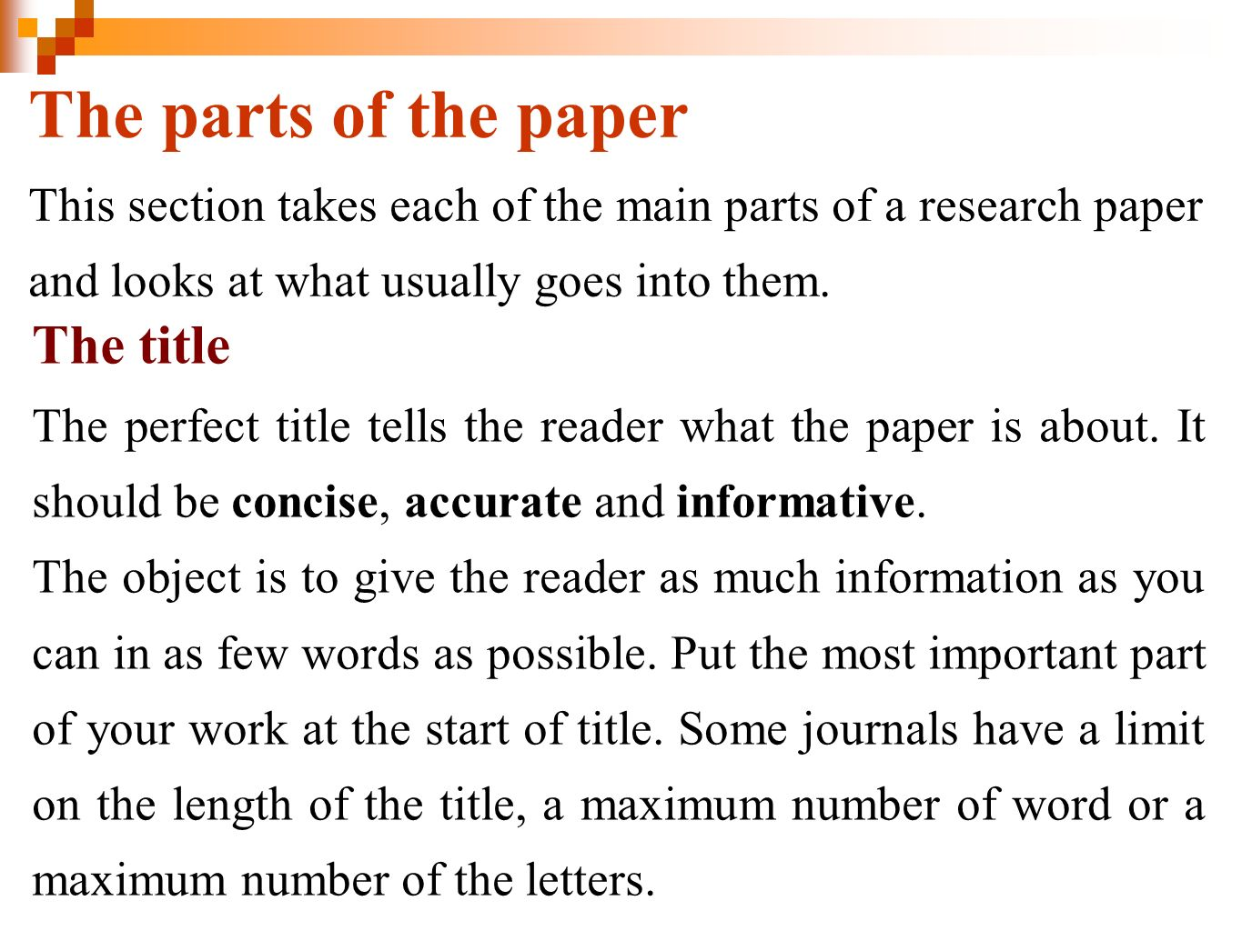 numbering sections research paper
