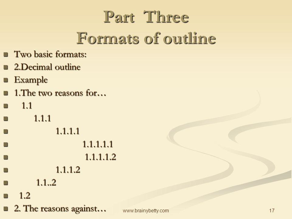 basic outline formats