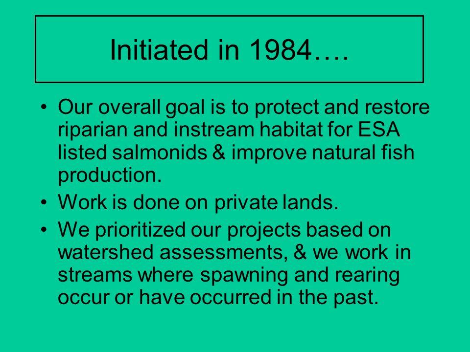 Initiated in 1984….