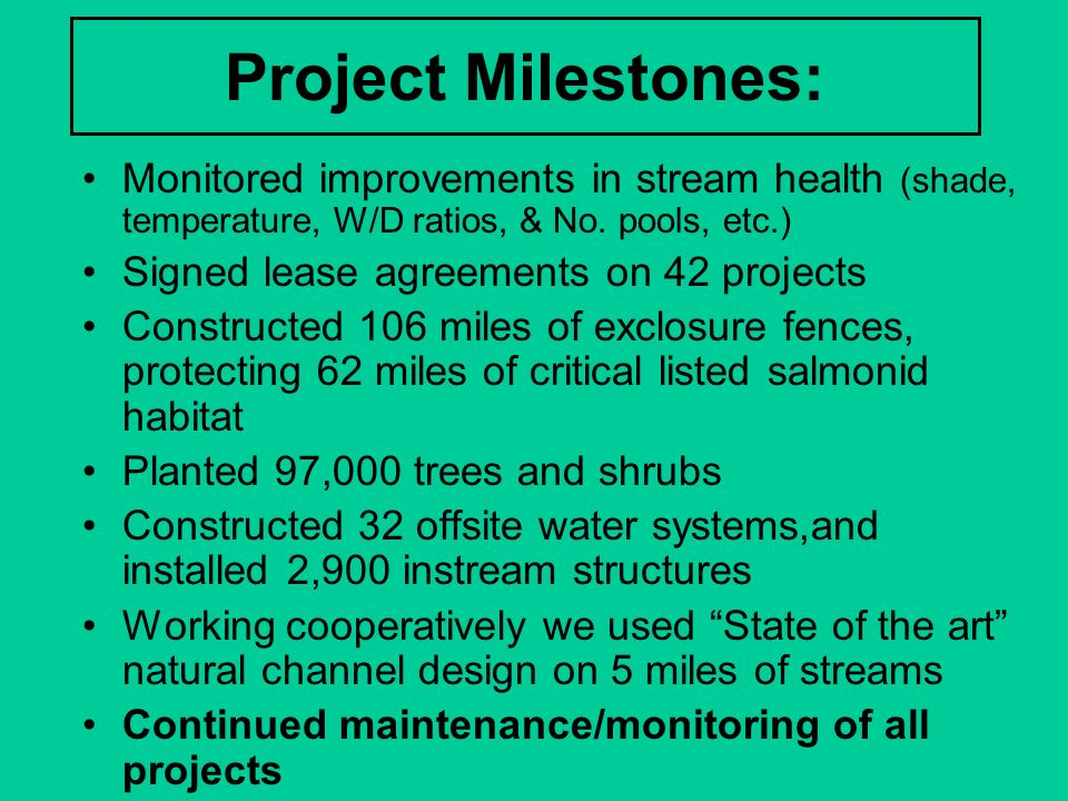 Project Milestones: Monitored improvements in stream health (shade, temperature, W/D ratios, & No. pools, etc.)