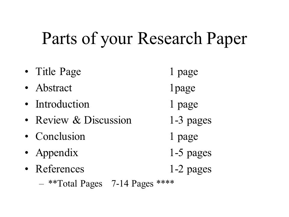 parts of a science fair research paper