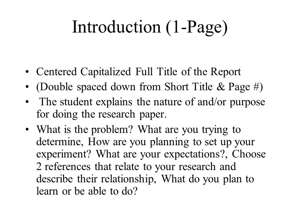 science project research paper title page The scientific method is a five-step  week 8 write abstract and research paper   contain a title page, a table of contents, an abstract, an introduction, one or.