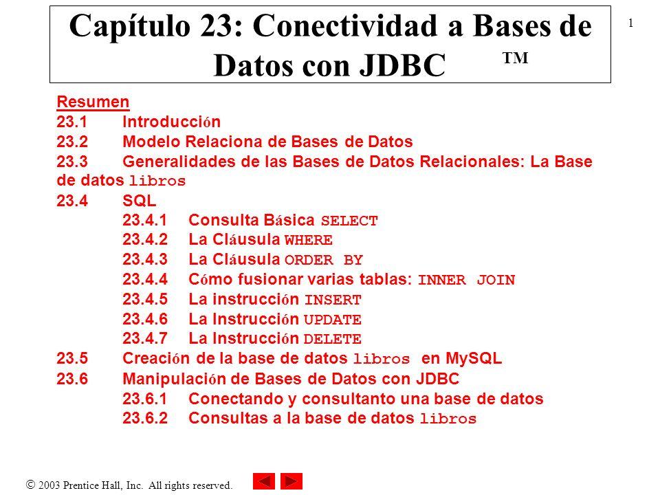 Capítulo 23: Conectividad a Bases de Datos con JDBC