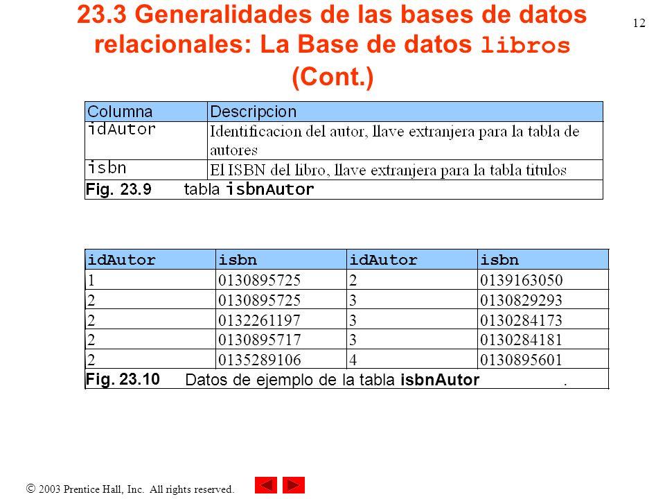 23.3 Generalidades de las bases de datos relacionales: La Base de datos libros (Cont.)
