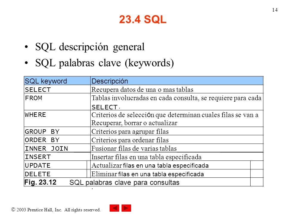 SQL descripción general SQL palabras clave (keywords)