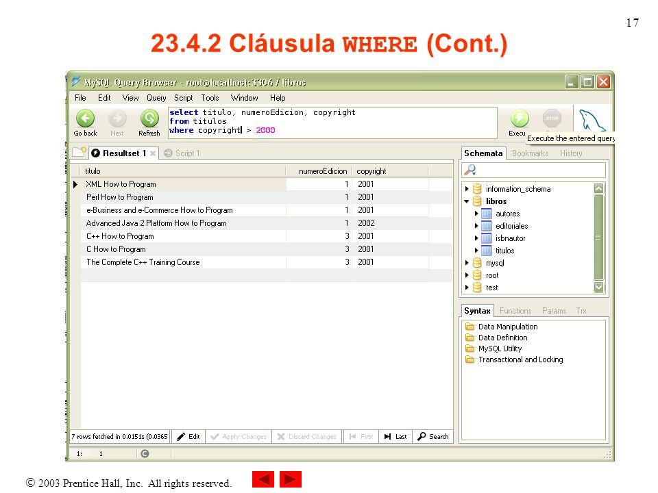 23.4.2 Cláusula WHERE (Cont.)