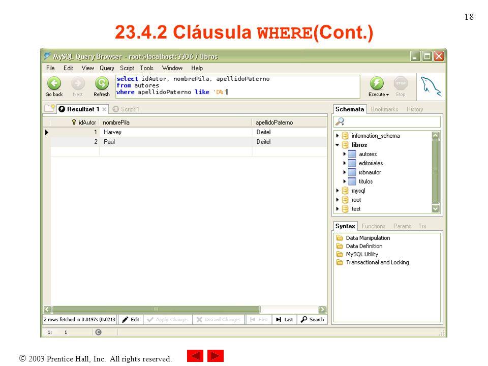 23.4.2 Cláusula WHERE(Cont.)