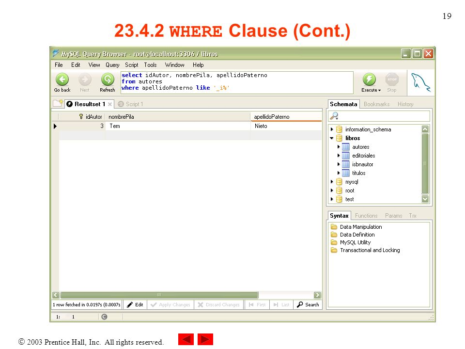 23.4.2 WHERE Clause (Cont.)