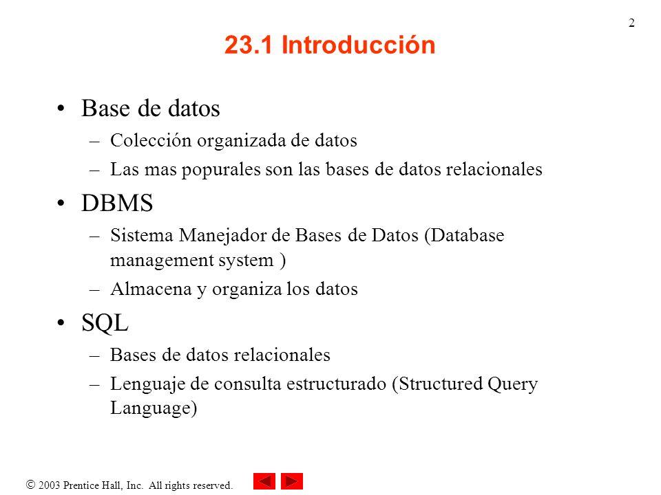 23.1 Introducción Base de datos DBMS SQL Colección organizada de datos