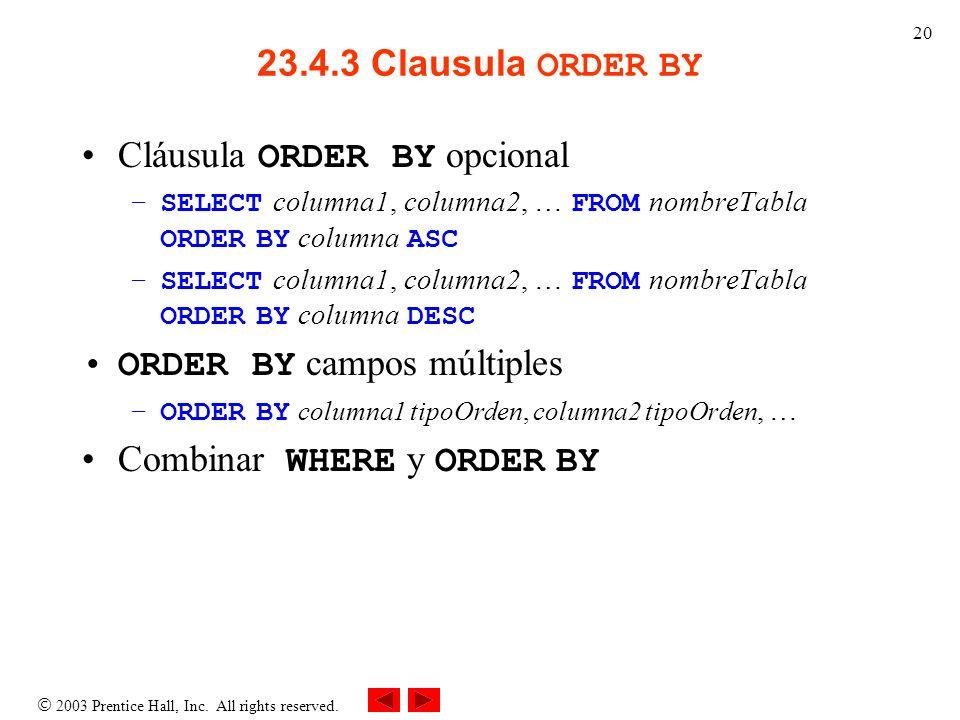 Cláusula ORDER BY opcional