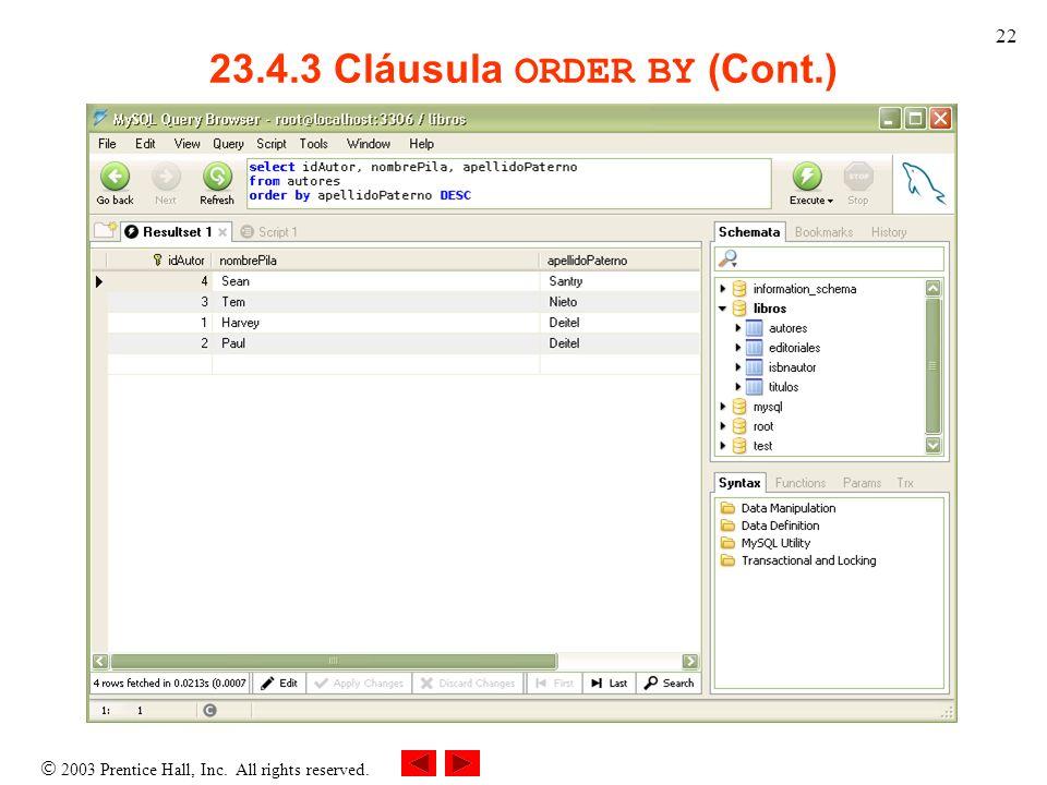 23.4.3 Cláusula ORDER BY (Cont.)