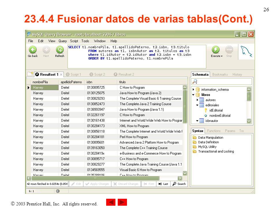 23.4.4 Fusionar datos de varias tablas(Cont.)
