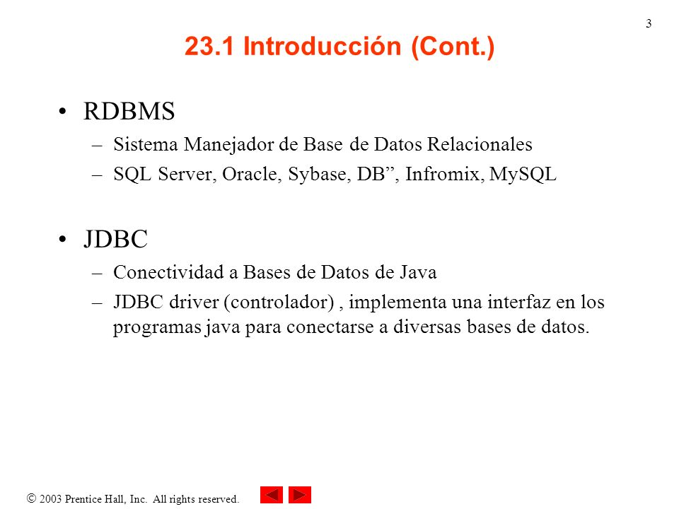 23.1 Introducción (Cont.) RDBMS JDBC