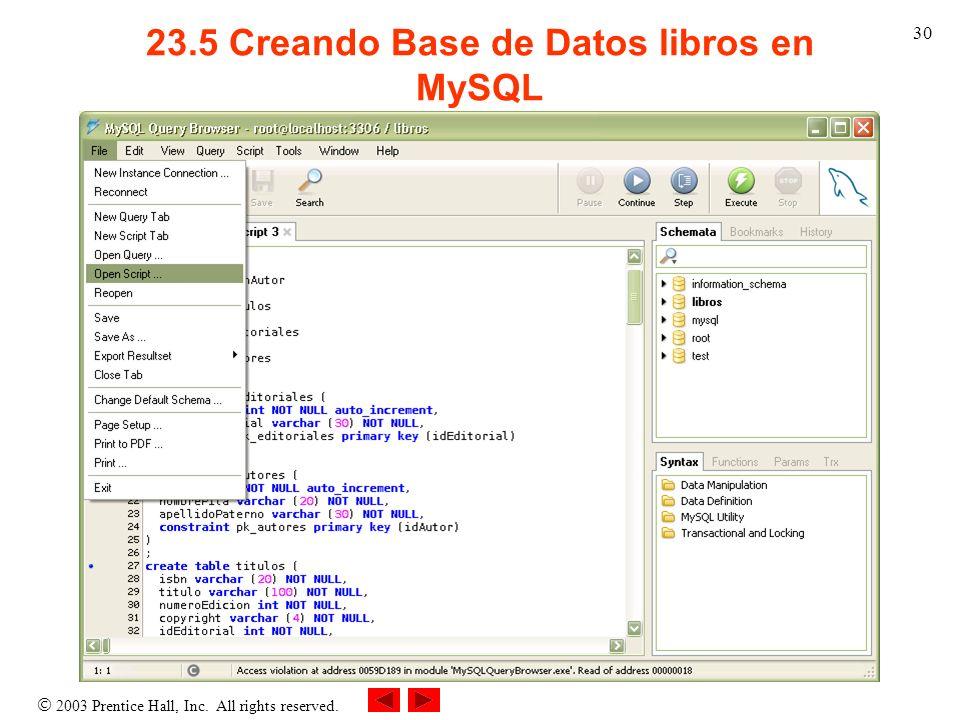 23.5 Creando Base de Datos libros en MySQL