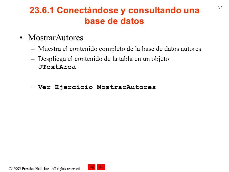 23.6.1 Conectándose y consultando una base de datos