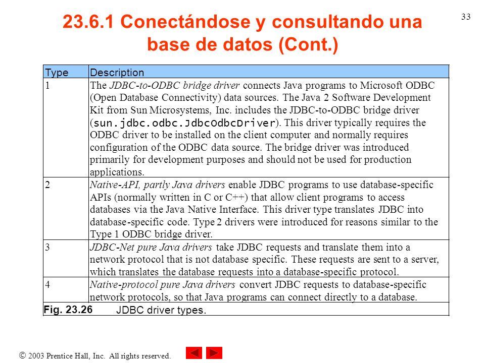23.6.1 Conectándose y consultando una base de datos (Cont.)