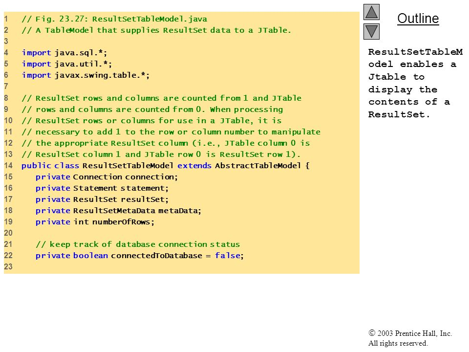 1 // Fig. 23.27: ResultSetTableModel.java