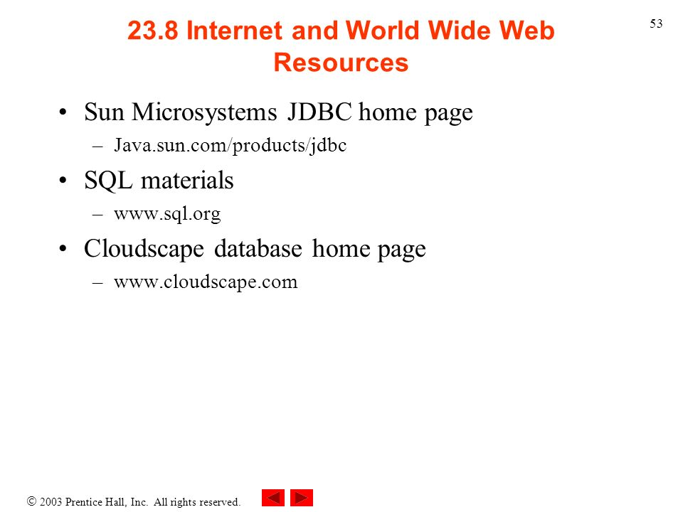 23.8 Internet and World Wide Web Resources