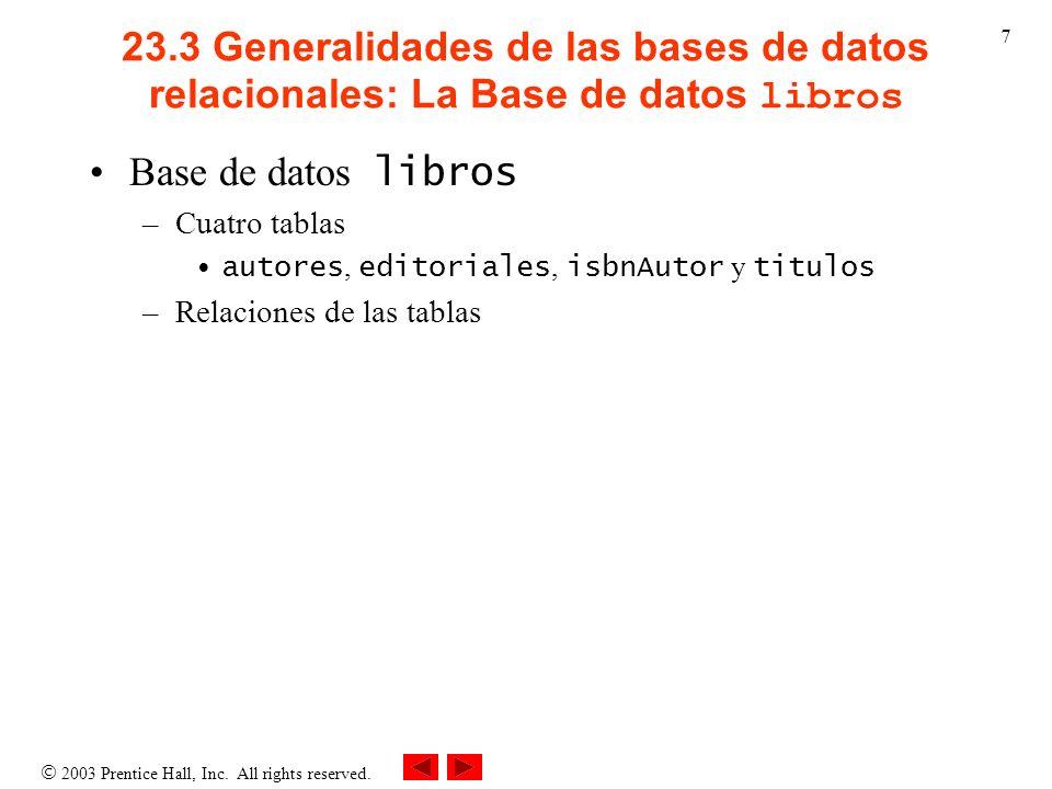 23.3 Generalidades de las bases de datos relacionales: La Base de datos libros