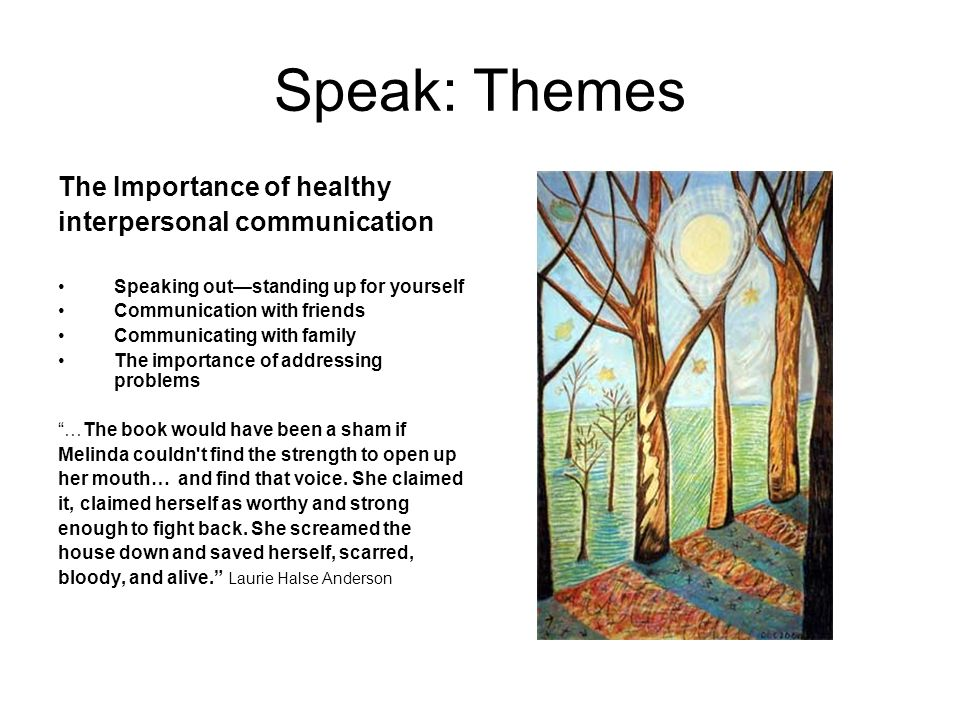 the three melindas trees in speak by laurie halse anderson Heading: speak by laurie halse anderson the first three marking periods melinda throughout the book to the cause of her actions and habits—rape.