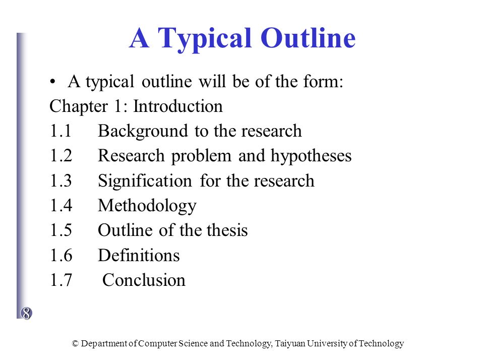 typical chapters of a thesis Thesis structures although there is no one standard thesis structure in use across the faculty of humanities some typical structures are given below structures a and b are more and will be given a title literature review sections may well be included in each chapter, rather than be given in a single separate section.