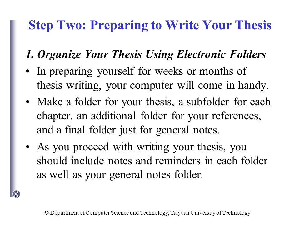 steps in preparing a thesis How to write your phd proposal: a step-by-step guide proposal is a solid and convincing framework of a phd thesis that must underline the originality of a.
