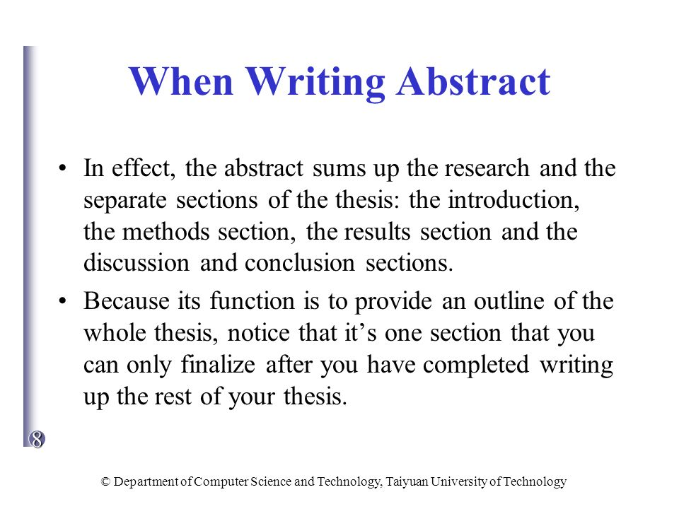 writing up results section dissertation
