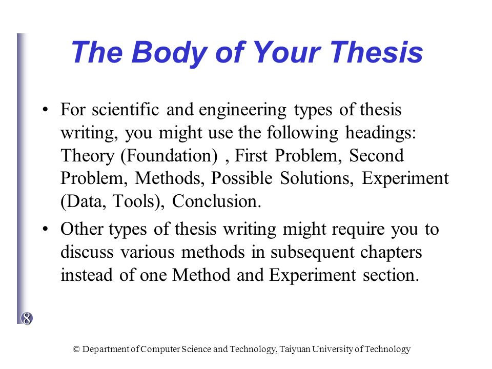 chapters of thesis paper In many thesis the discussion is the most important section make sure that you allocate enough time and space for a good discussion this is your opportunity to show that you have understood the significance of your findings and that you are capable of applying theory in an independent manner.