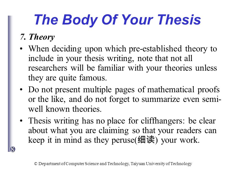 theory in thesis writing A thesis statement presents the position that you intend to argue within your paper, whereas a research question indicates your direction of inquiry in your research.