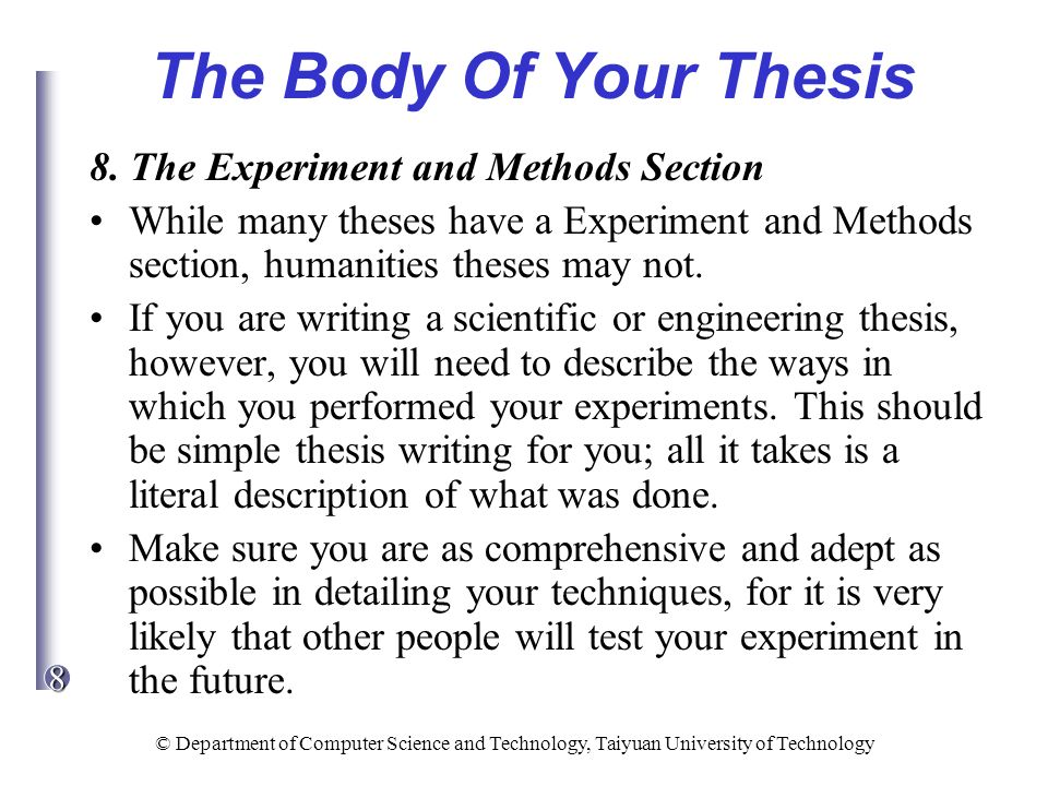 methods section in thesis One of the most important parts of the thesis that should be given adequate time is the methods section of course, everything you are trying to do when writing a.
