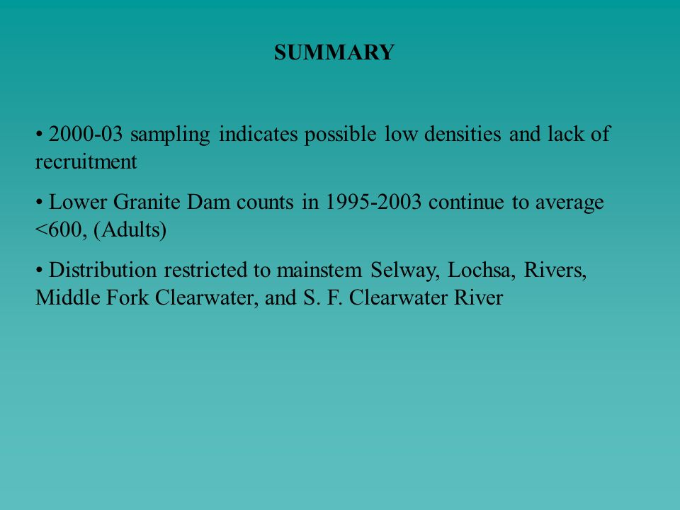 SUMMARY 2000-03 sampling indicates possible low densities and lack of recruitment.