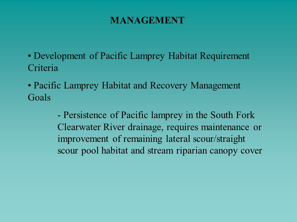 MANAGEMENT Development of Pacific Lamprey Habitat Requirement Criteria. Pacific Lamprey Habitat and Recovery Management Goals.