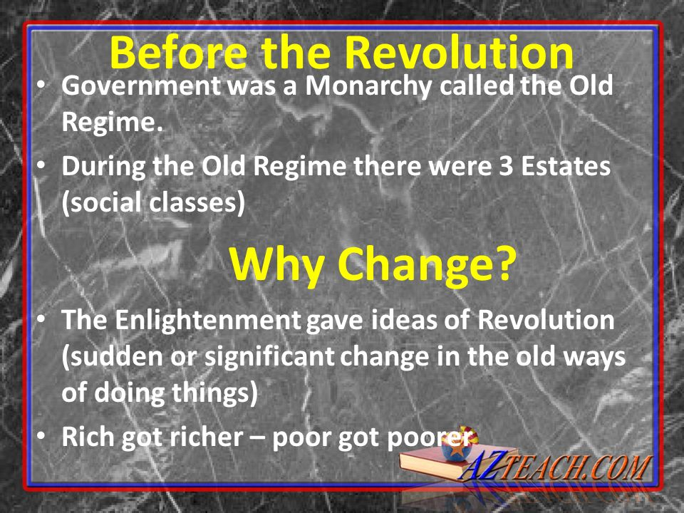 Before the Revolution Why Change