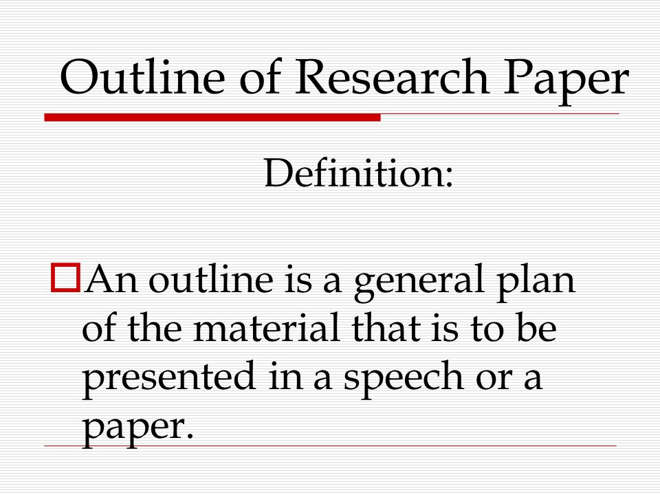 Research Paper Plan
