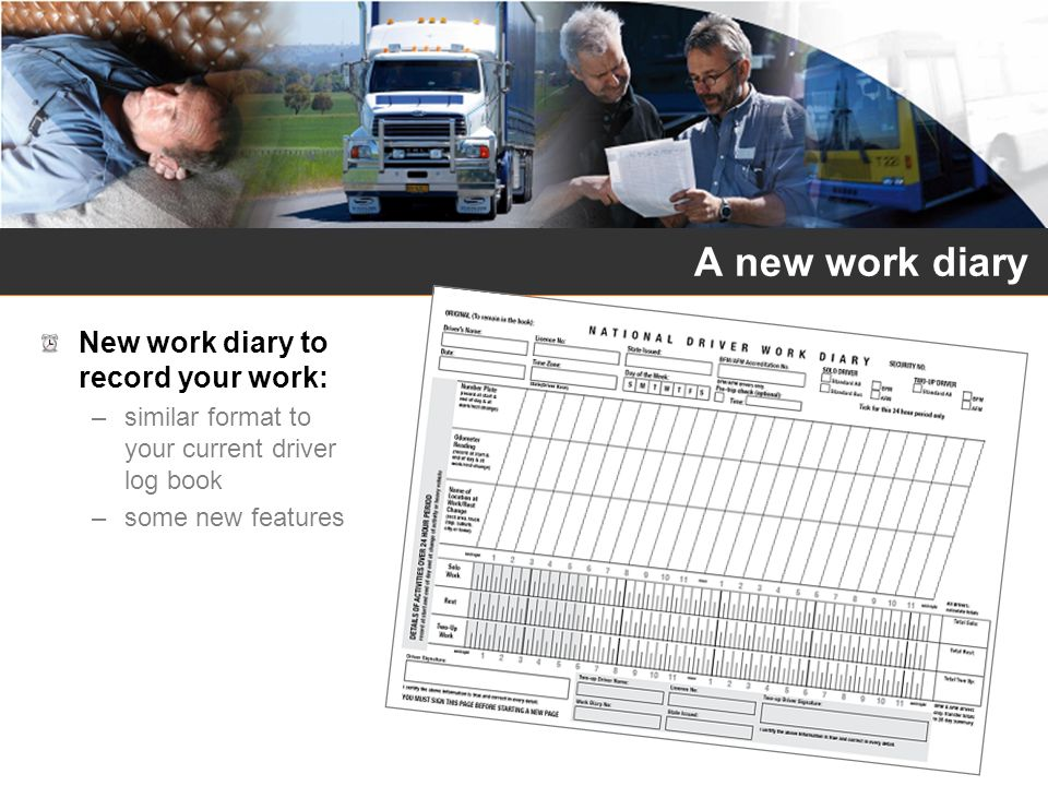 A new work diary New work diary to record your work: