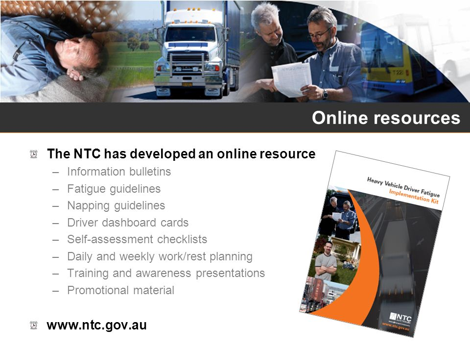 Online resources The NTC has developed an online resource