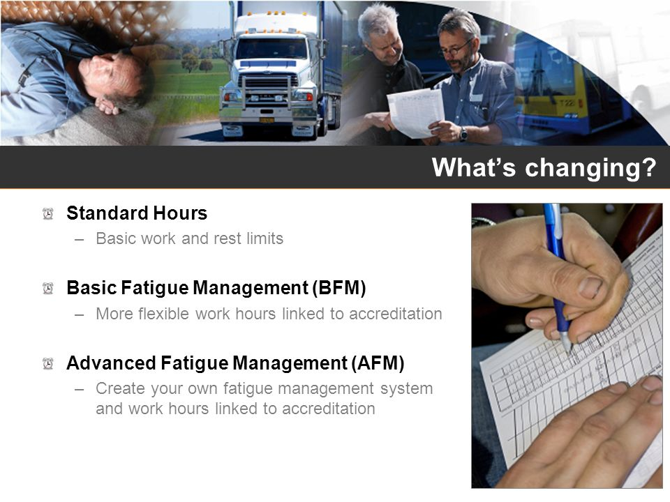 What's changing Standard Hours Basic Fatigue Management (BFM)