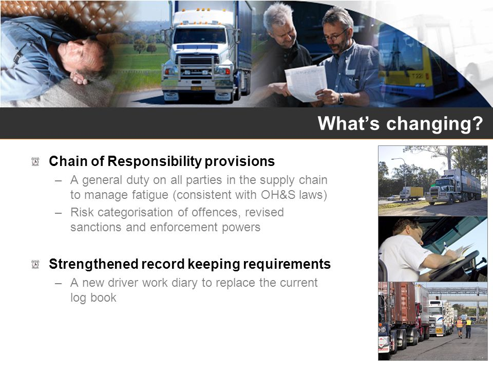 What's changing Chain of Responsibility provisions