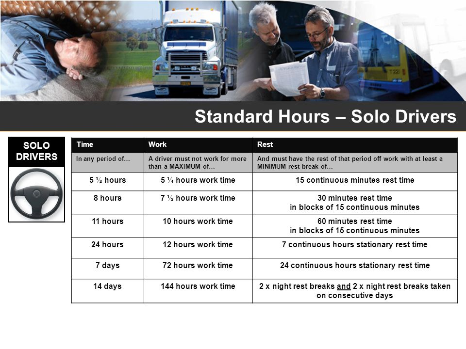 Standard Hours – Solo Drivers