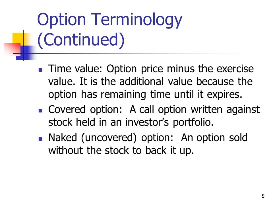 Stock options lingo