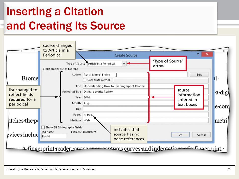 Inserting a Citation and Creating Its Source